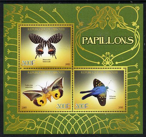 Djibouti 2015 Butterflies #1 perf sheetlet containing set of 3 unmounted mint