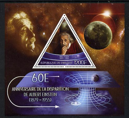 Djibouti 2015 60th Death Anniversay of Albert Einstein perf s/sheet containing one triangular value unmounted mint