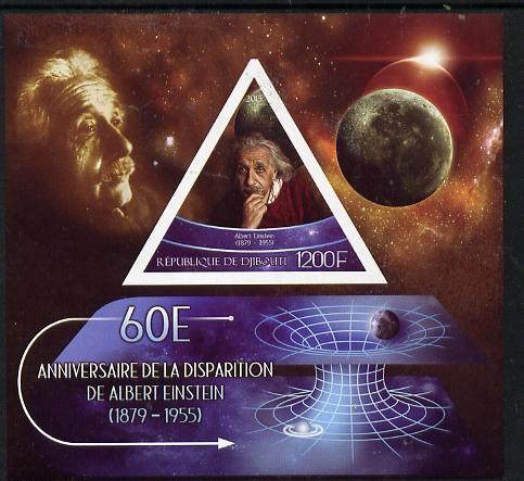 Djibouti 2015 60th Death Anniversay of Albert Einstein imperf s/sheet containing one triangular value unmounted mint
