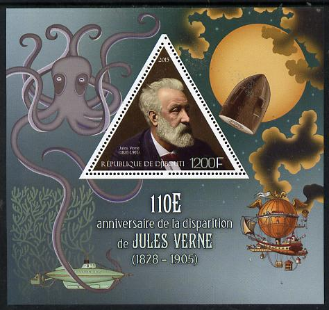 Djibouti 2015 110th Death Anniversay of Jules Verne perf s/sheet containing one triangular value unmounted mint