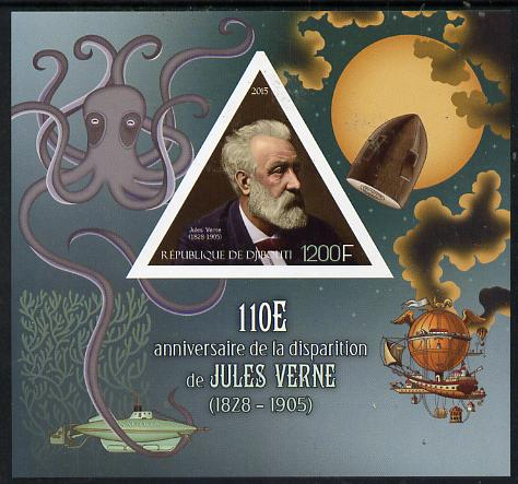 Djibouti 2015 110th Death Anniversay of Jules Verne imperf s/sheet containing one triangular value unmounted mint