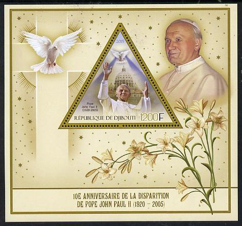 Djibouti 2015 10th Death Anniversay of Pope John Paul II perf s/sheet containing one triangular value unmounted mint