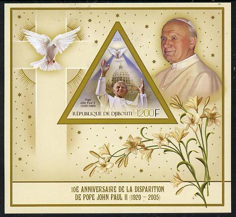 Djibouti 2015 10th Death Anniversay of Pope John Paul II imperf s/sheet containing one triangular value unmounted mint