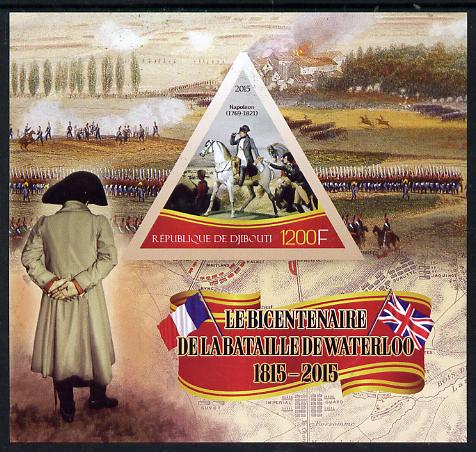 Djibouti 2015 Bicentenary of Battle of Waterloo imperf s/sheet containing one triangular value unmounted mint