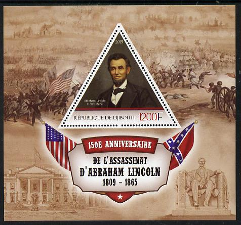 Djibouti 2015 150th Anniversay Assassination of Abraham Lincoln perf s/sheet containing one triangular value unmounted mint