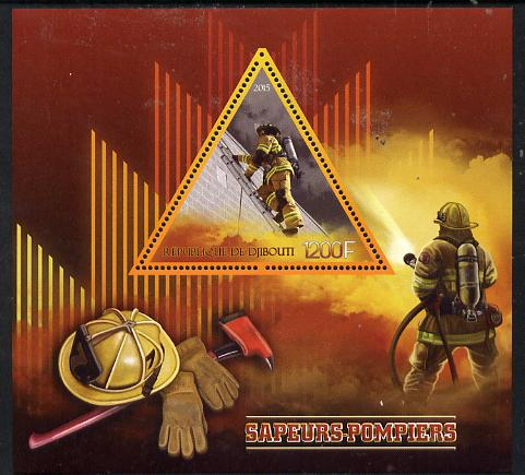 Djibouti 2015 FireFighting perf s/sheet containing one triangular value unmounted mint
