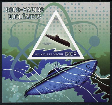 Djibouti 2015 Submarines imperf s/sheet containing one triangular value unmounted mint