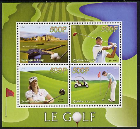 Congo 2015 Golf perf sheetlet containing set of 4 unmounted mint