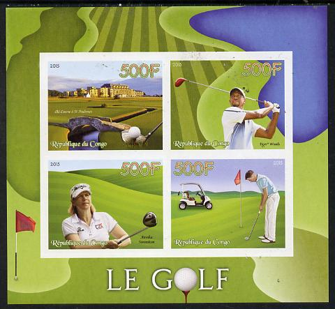 Congo 2015 Golf imperf sheetlet containing set of 4 unmounted mint