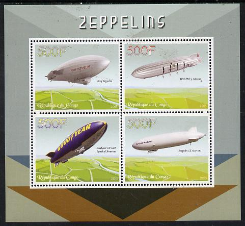 Congo 2015 Zeppelins perf sheetlet containing set of 4 unmounted mint