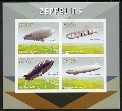 Congo 2015 Zeppelins imperf sheetlet containing set of 4 unmounted mint