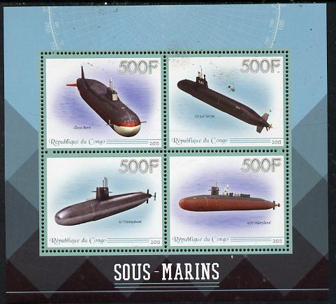 Congo 2015 Submarines perf sheetlet containing set of 4 unmounted mint