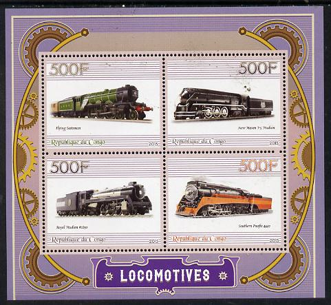 Congo 2015 Steam Locomotives perf sheetlet containing set of 4 unmounted mint