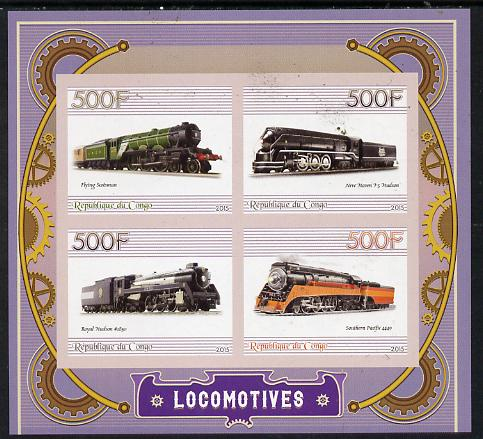 Congo 2015 Steam Locomotives imperf sheetlet containing set of 4 unmounted mint