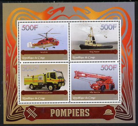 Congo 2015 Fire Services perf sheetlet containing set of 4 unmounted mint