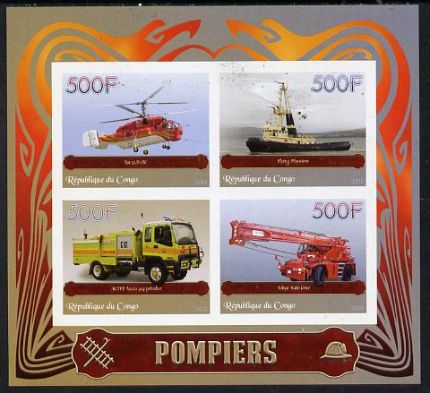 Congo 2015 Fire Services imperf sheetlet containing set of 4 unmounted mint