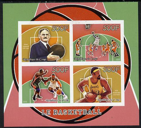 Congo 2015 Basketball imperf sheetlet containing set of 4 unmounted mint
