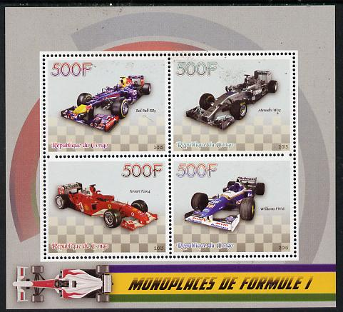 Congo 2015 Formula 1 Cars perf sheetlet containing set of 4 unmounted mint