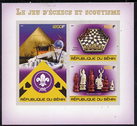 Benin 2015 Chess & Scouts imperf sheet containing 3 values unmounted mint