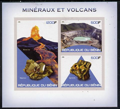 Benin 2015 Minerals & Volcanoes imperf sheet containing 3 values unmounted mint