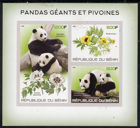 Benin 2015 Giant Pandas & Peonies imperf sheet containing 3 values unmounted mint