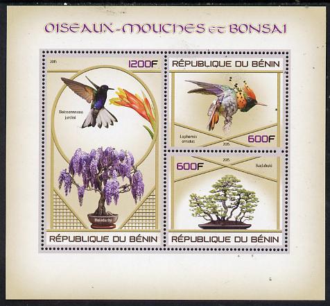 Benin 2015 Hummingbirds & Bonsai perf sheet containing 3 values unmounted mint