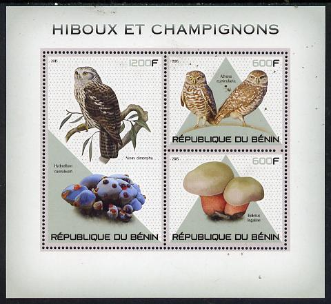 Benin 2015 Owls & Fungi perf sheet containing 3 values unmounted mint
