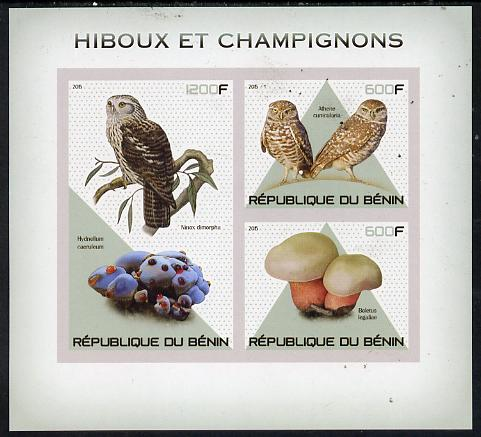 Benin 2015 Owls & Fungi imperf sheet containing 3 values unmounted mint