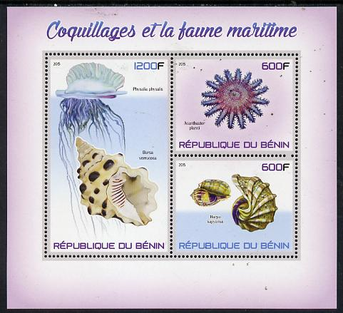 Benin 2015 Shells & Marine Life perf sheet containing 3 values unmounted mint