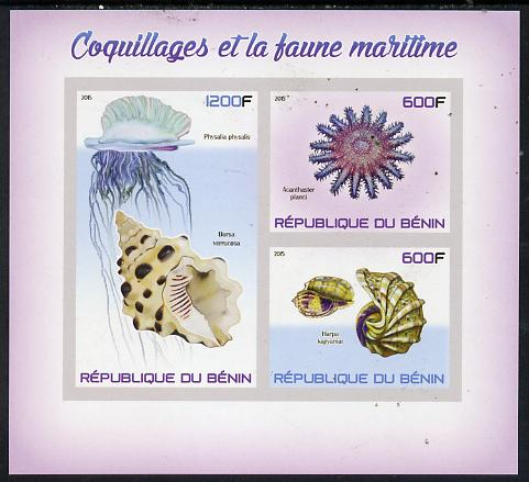 Benin 2015 Shells & Marine Life imperf sheet containing 3 values unmounted mint