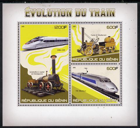 Benin 2015 Evolution of the Train perf sheet containing 3 values unmounted mint