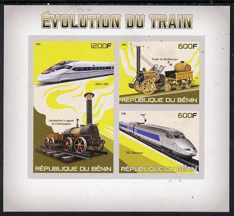 Benin 2015 Evolution of the Train imperf sheet containing 3 values unmounted mint