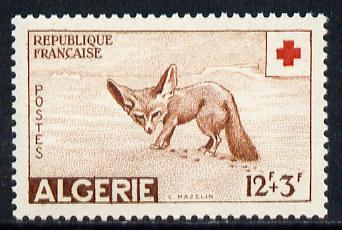 Algeria 1957 Red Cross Fund 12f+3f (Fox) unmounted mint SG 373*