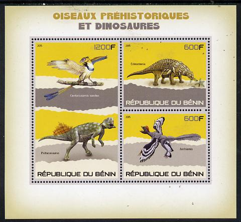 Benin 2015 Pre-Historic Animals perf sheet containing 3 values unmounted mint