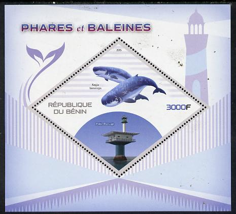 Benin 2015 Lighthouses & Whales perf deluxe sheet containing one diamond shaped value unmounted mint