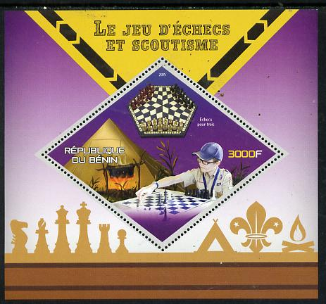Benin 2015 Chess & Scouts perf deluxe sheet containing one diamond shaped value unmounted mint