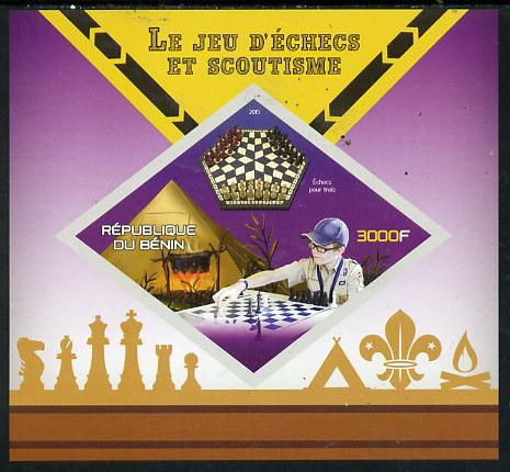 Benin 2015 Chess & Scouts imperf deluxe sheet containing one diamond shaped value unmounted mint