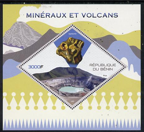 Benin 2015 Minerals & Volcanoes perf deluxe sheet containing one diamond shaped value unmounted mint