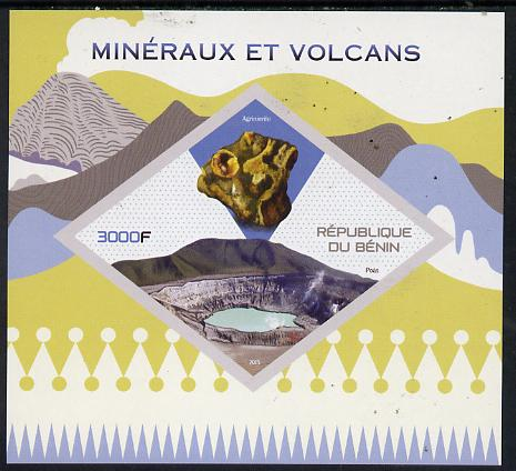 Benin 2015 Minerals & Volcanoes imperf deluxe sheet containing one diamond shaped value unmounted mint