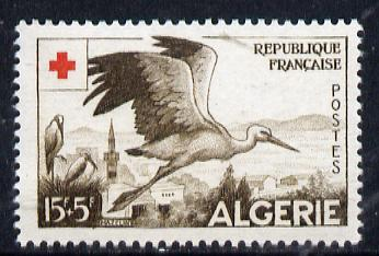 Algeria 1957 Red Cross Fund 15f+5f (Stork) unmounted mint SG 374*