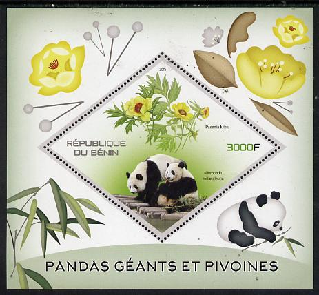 Benin 2015 Giant Pandas & Peonies perf deluxe sheet containing one diamond shaped value unmounted mint