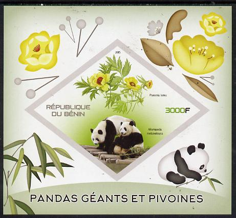 Benin 2015 Giant Pandas & Peonies imperf deluxe sheet containing one diamond shaped value unmounted mint