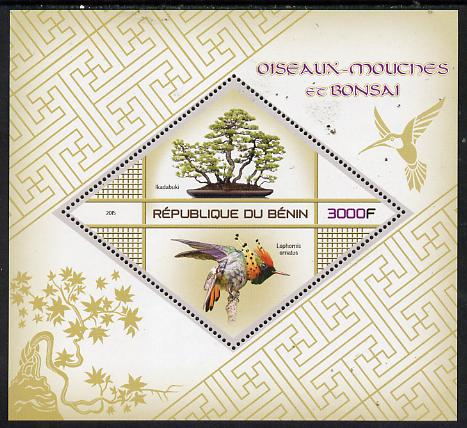 Benin 2015 Hummingbirds & Bonsai perf deluxe sheet containing one diamond shaped value unmounted mint
