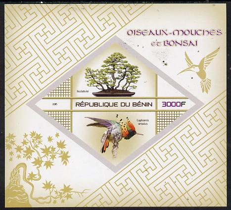 Benin 2015 Hummingbirds & Bonsai imperf deluxe sheet containing one diamond shaped value unmounted mint