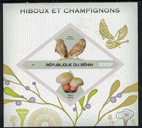 Benin 2015 Owls & Fungi imperf deluxe sheet containing one diamond shaped value unmounted mint
