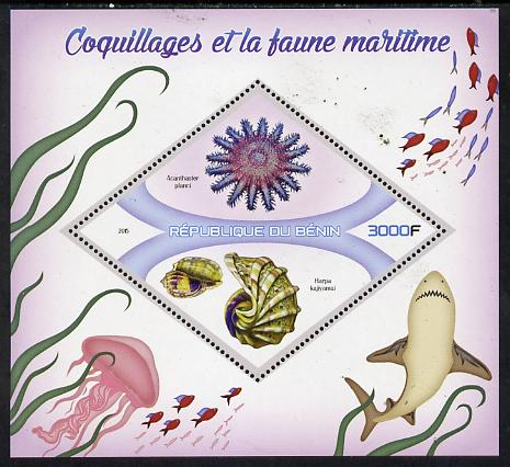 Benin 2015 Shells & Marine Life perf deluxe sheet containing one diamond shaped value unmounted mint