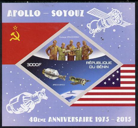 Benin 2015 Apollo & Soyuz imperf deluxe sheet containing one diamond shaped value unmounted mint