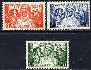 Algeria 1949 75th Anniversary of Universal Postal Union set of 3 unmounted mint SG 295-97