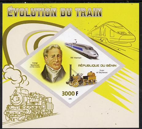 Benin 2015 Evolution of the Train imperf deluxe sheet containing one diamond shaped value unmounted mint