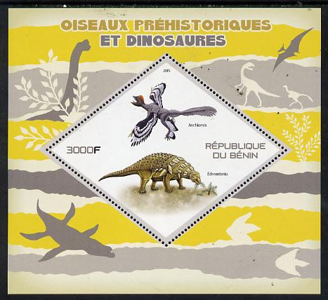 Benin 2015 Pre-Historic Animals perf deluxe sheet containing one diamond shaped value unmounted mint